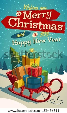 Vintage sanki christmas dekoracji Zdjęcia stock © dariazu