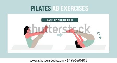 pilates · nő · nyitva · láb · rocker · testmozgás - stock fotó © lunamarina