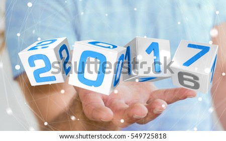 3d businessman with new year 2017 cubes stock photo © nasirkhan