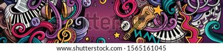 Musique dessinés à la main doodle bannière cartoon détaillée Photo stock © balabolka