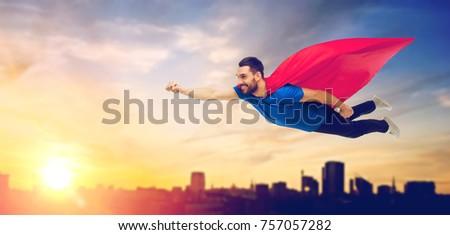 Man Rood vliegen hemel super Stockfoto © dolgachov