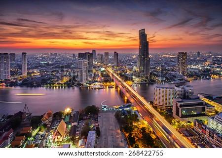Manzaralı gün batımı Bangkok şehir şehir merkezinde Cityscape Stok fotoğraf © GVS