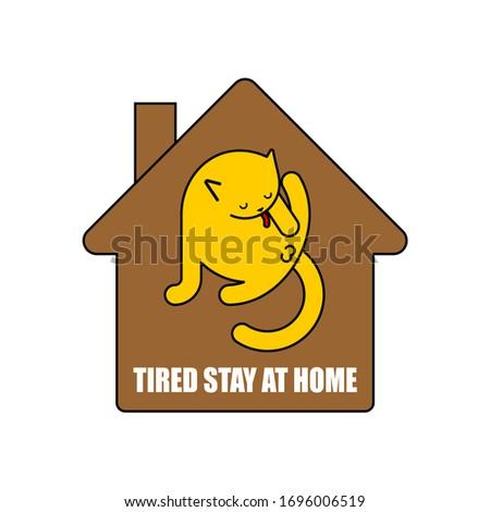Stock photo: Stay at home. Cat licks itself. Pet inside house. Coronavirus is