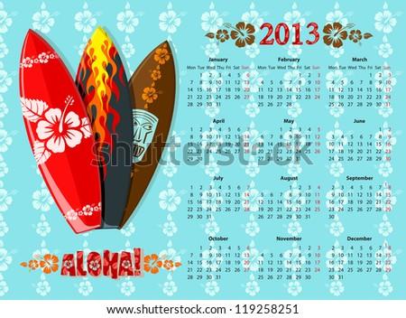 Vector Blue Aloha Calendar 2013 With Surf Boards Photo stock © Elisanth