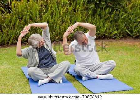 Foto stock: Pareja · de · ancianos · jardín · mujer · salud · parque · femenino