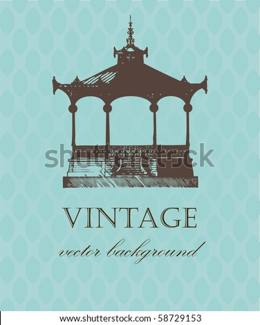 Vintage card with old pavilion. Stock photo © mcherevan