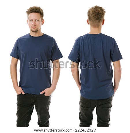 Man posing with blank navy blue shirt Stock photo © sumners