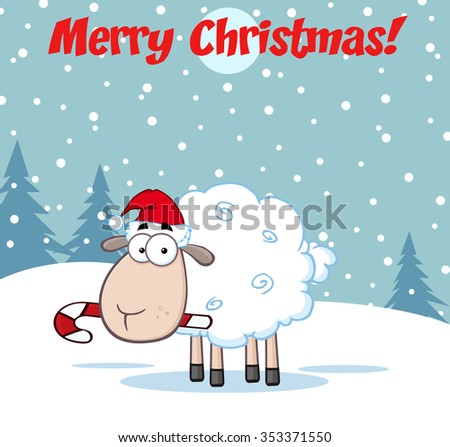 Vector Illustration With Santa Claus And White Sheep Greeting Card Christmas New Year 2015 Holiday Stok fotoğraf © HitToon