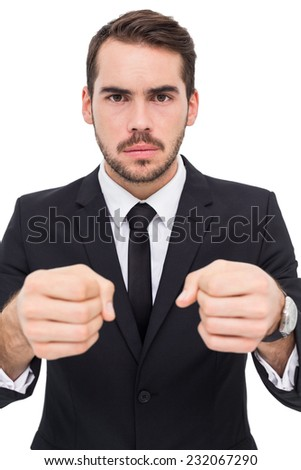 Frustrated businessman with closed fists looking at camera Stock photo © wavebreak_media