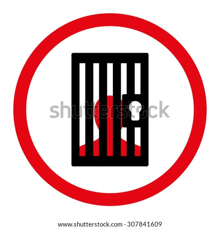 Prison flat red and white colors rounded vector icon Stock photo © ahasoft