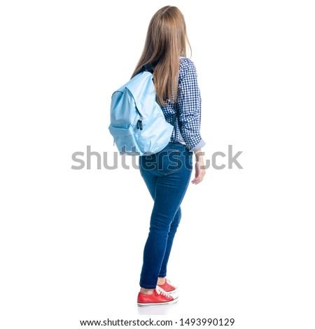 Hátsó nézet nő alkalmi ruha fehér baba divat Stock fotó © wavebreak_media