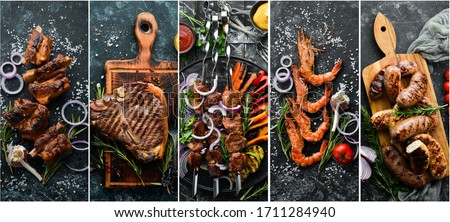 kebabs from meat and seafood heated by fire Stock photo © galitskaya