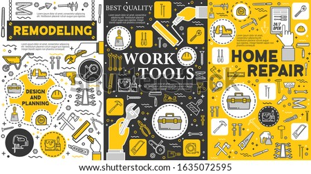 Hands Woodworking Plan Illustration Stock photo © lenm