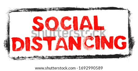 Keep distance sign, social distancing banner to avoid contaminat Stock photo © gomixer