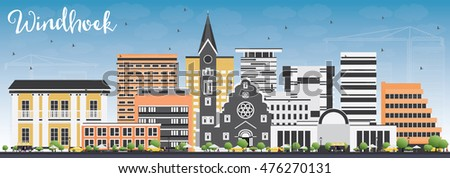Windhoek City skyline black and white silhouette. Stock photo © ShustrikS