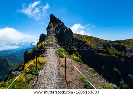 Mountain peak Pico do Arieiro at Madeira island, Portugal Stock photo © boggy