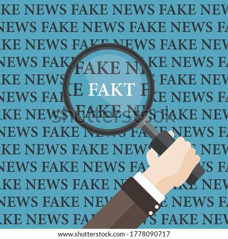 Flat Hand Loupe Fake News Fakt Stock photo © limbi007
