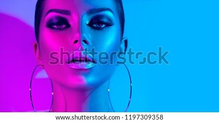 Báj divat gyönyörű nők visel szőrös Stock fotó © silent47