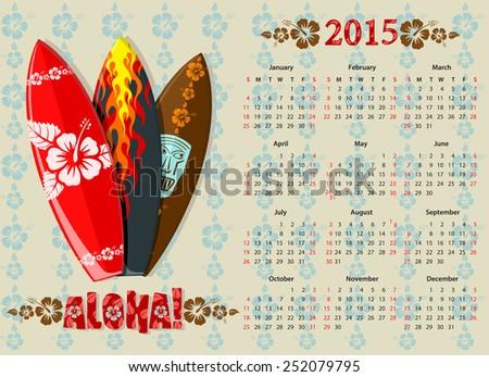 Vector Aloha Calendar 2015 With Surf Boards Photo stock © Elisanth