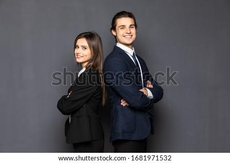casal · empresários · feliz · trabalhar · grupo · corporativo - foto stock © Minervastock