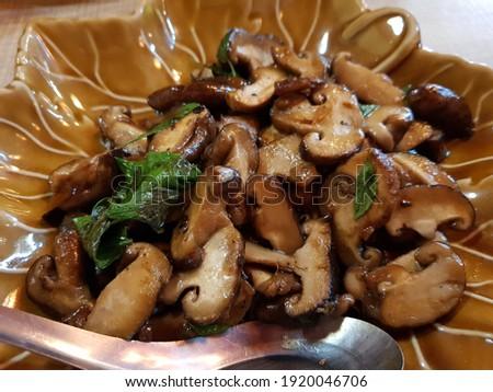 Házi készítésű thai hús erdő gombák finom Stock fotó © Peteer