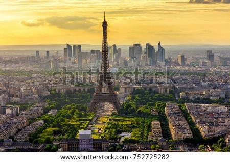 Eiffel tur Paris Cityscape geniş panorama Stok fotoğraf © neirfy