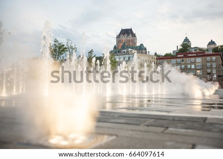 Frontenac Castle in Old Quebec City with water on the bottom Stock photo © Lopolo