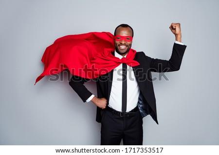 man in red superhero cape over grey background Stock photo © dolgachov