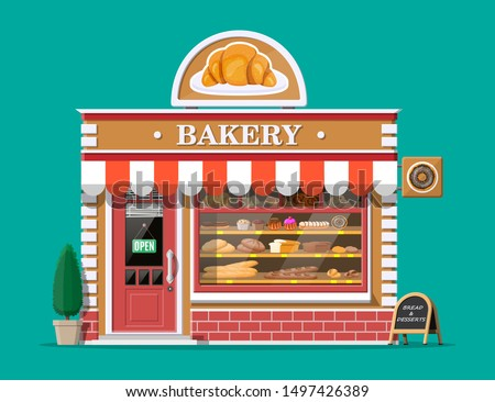 Bakery Cafe Exterior of Shop with Baked Desserts Stock photo © robuart