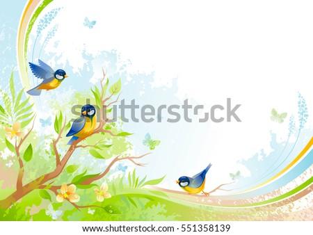 Vogels bloemen banner exemplaar ruimte poster Stockfoto © barsrsind