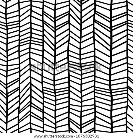 Seamless hand drawn style chevron pattern in black and white. Abstract vector background Stock photo © samolevsky