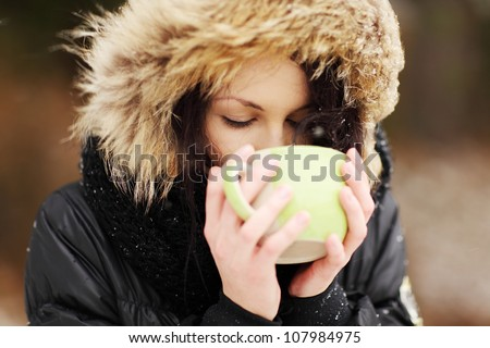 Hot Cocoa Standing Woman Stock photo © Kakigori