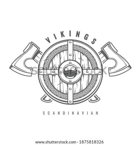 Vikings with shield and ax Stock photo © jossdiim