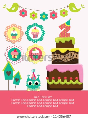 birthday party card with cute birds, owls and flowers Stock photo © fotoscool