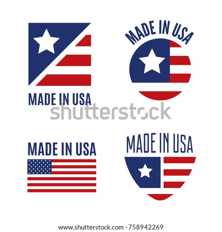 usa flag sign label stickers set stock photo © fotoscool