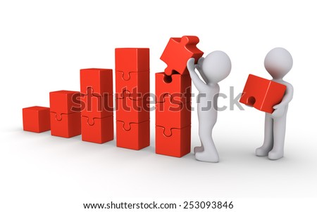 3d White People Building A Business Chart Photo stock © 6kor3dos