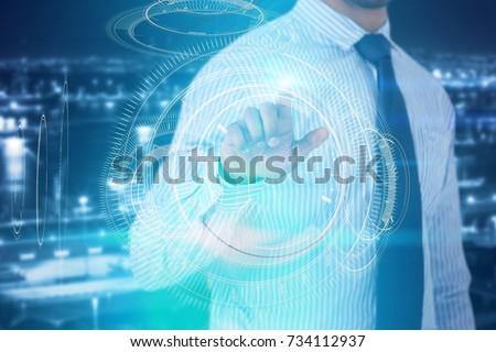 Işadamı fütüristik dijital ekran beyaz Stok fotoğraf © wavebreak_media