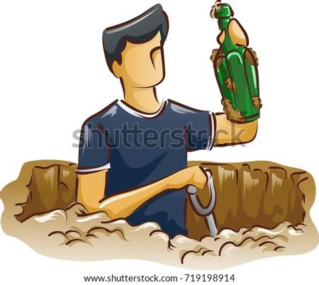 Man Antique Bottle Digging Stock photo © lenm