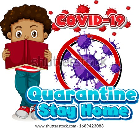Font design for word quarantine stay home with boy reading Stock photo © bluering