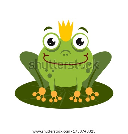 green king frog sitting on lotus leaf. Stock photo © Zsuskaa