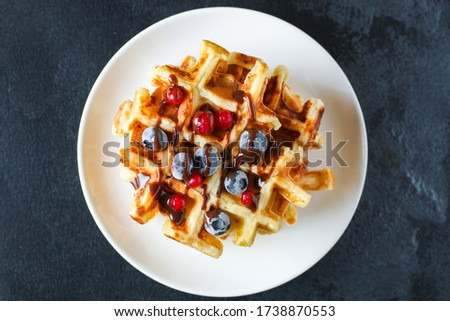 Waffles with berries and fruit Stock photo © furmanphoto