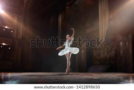 Stok fotoğraf: Balerin · poz · tiyatro · kız · dans · duman