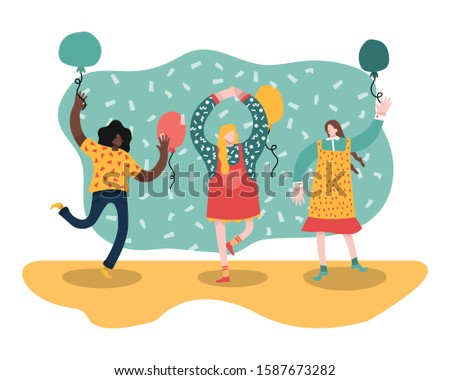 set of three girls birthday party isolated on white background stock photo © balasoiu