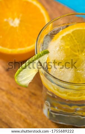 Jeges víz üveg citrom citromsárga étel Stock fotó © meinzahn