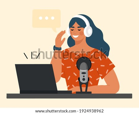 Female DJ with Music Player, Speakers and Laptop Stock photo © stryjek