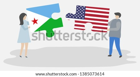 USA and Djibouti Flags in puzzle  Stock photo © Istanbul2009
