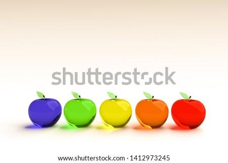 3D regenboog appel appels geïsoleerd witte Stockfoto © AptTone