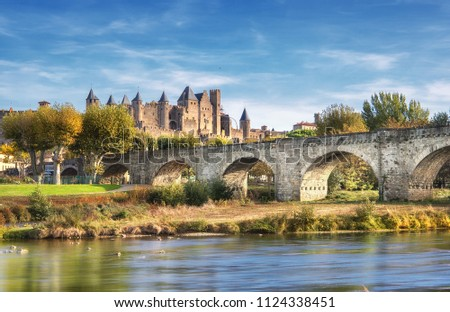 medieval castle of carcassonne france stock photo © ptichka