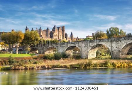 Médiévale château France panorama baisser ville Photo stock © ptichka