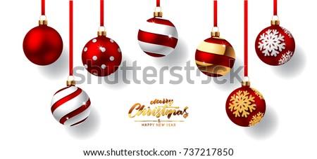 декоративный · красный · мяча · украшения · рождественская · елка · изолированный - Сток-фото © imaster